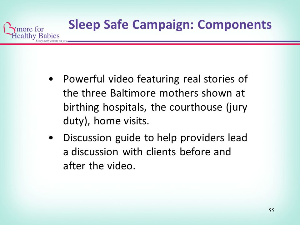 Sleep Safe Campaign: Components