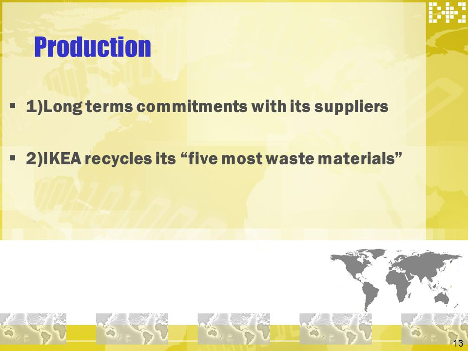 Production 1)Long terms commitments with its suppliers