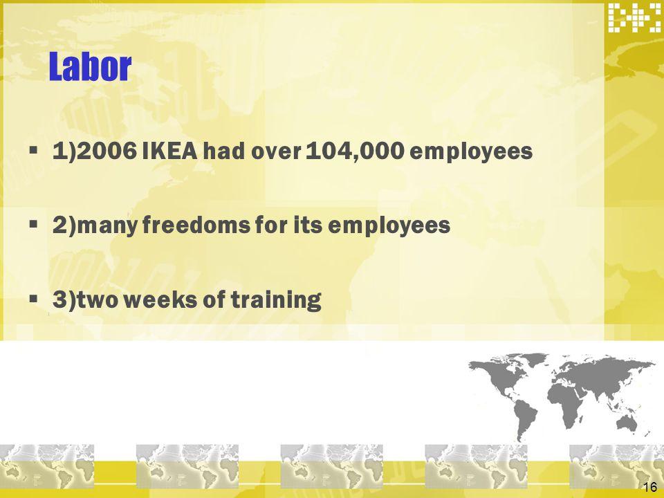 Labor 1)2006 IKEA had over 104,000 employees