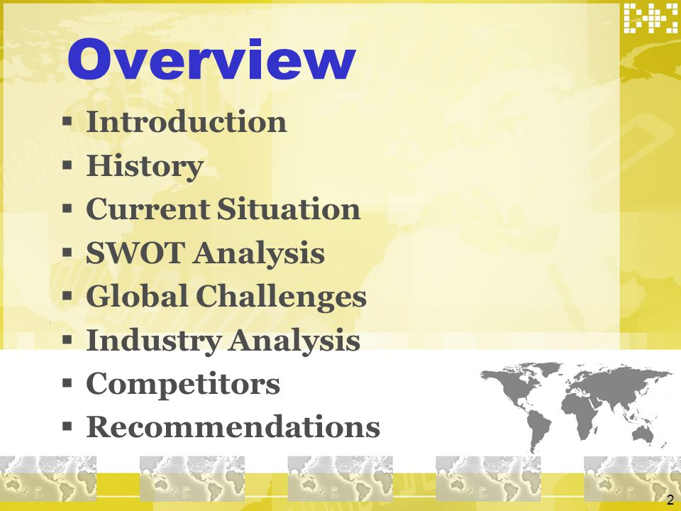Overview Introduction History Current Situation SWOT Analysis