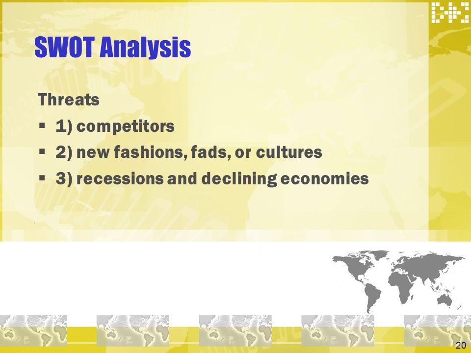 SWOT Analysis Threats 1) competitors