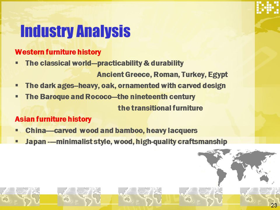 Industry Analysis Western furniture history