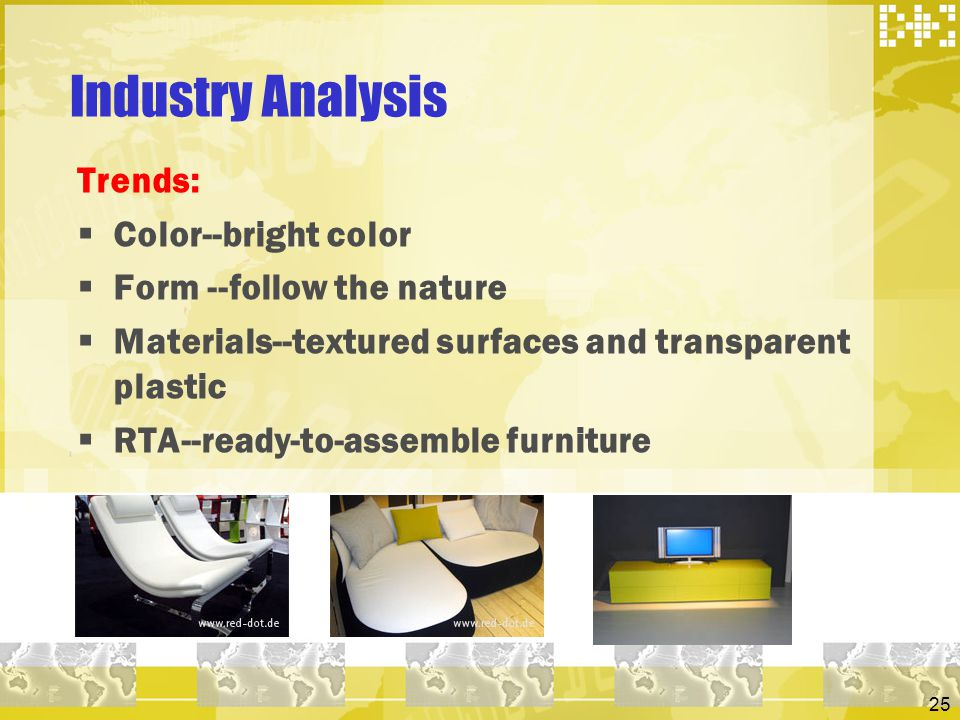 Industry Analysis Trends: Color--bright color Form --follow the nature