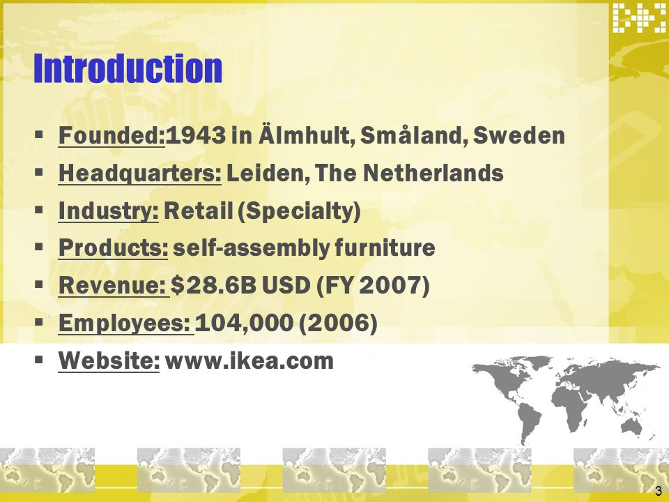 Introduction Founded:1943 in Älmhult, Småland, Sweden
