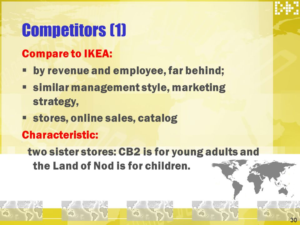 Competitors (1) Compare to IKEA: by revenue and employee, far behind;