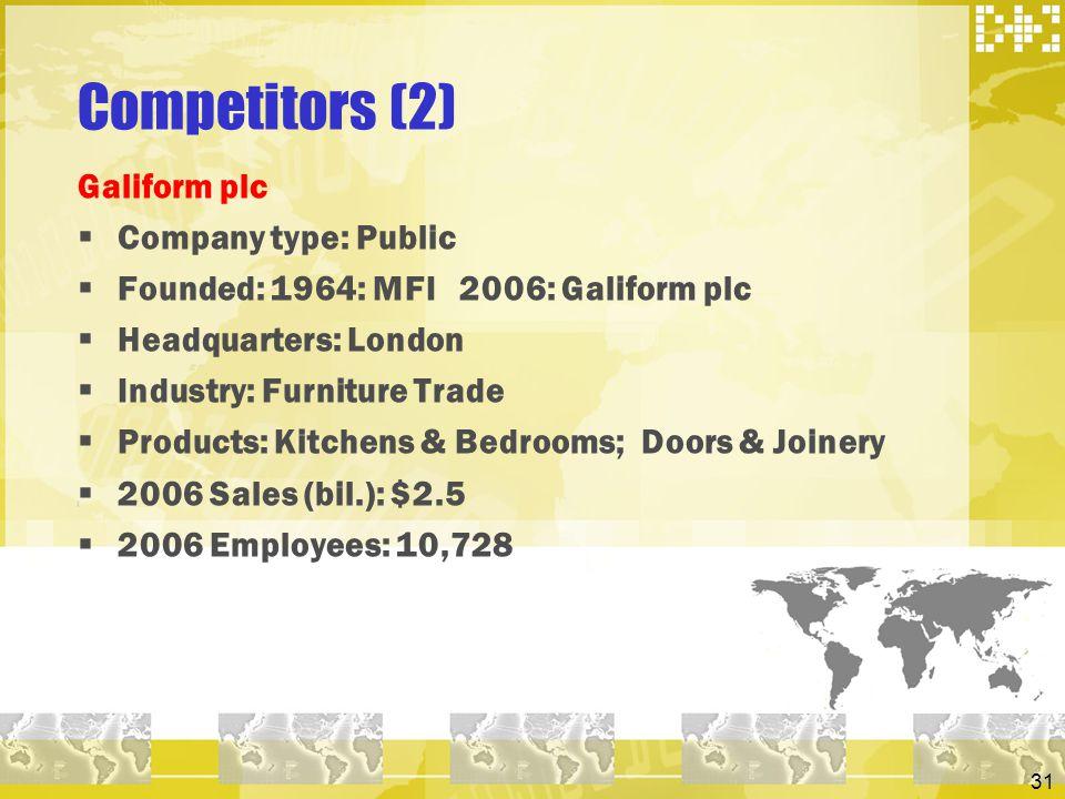 Competitors (2) Galiform plc Company type: Public