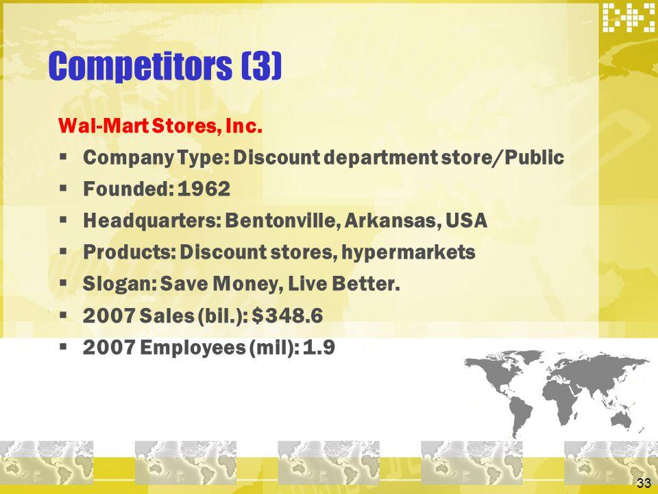 Competitors (3) Wal-Mart Stores, Inc.