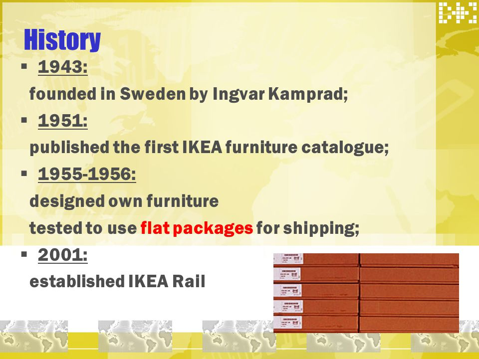 History 1943: founded in Sweden by Ingvar Kamprad; 1951: