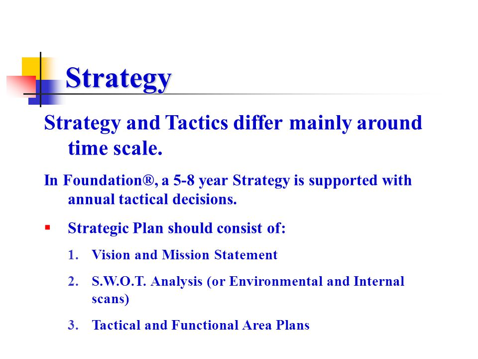 Strategy Strategy and Tactics differ mainly around time scale.