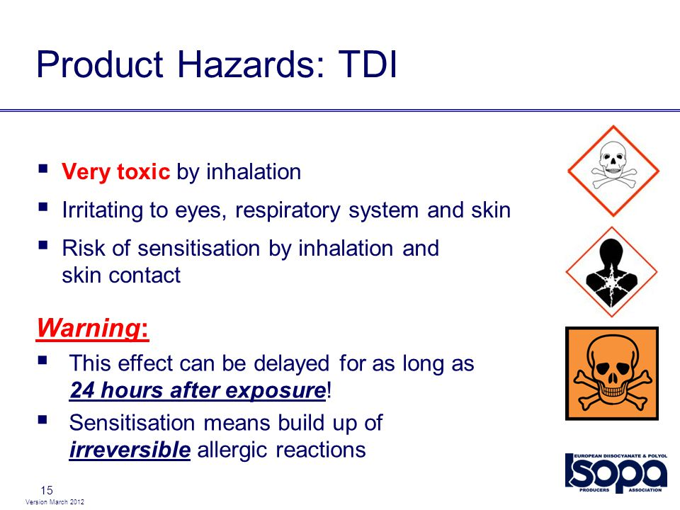 Product Hazards: TDI Warning: Very toxic by inhalation