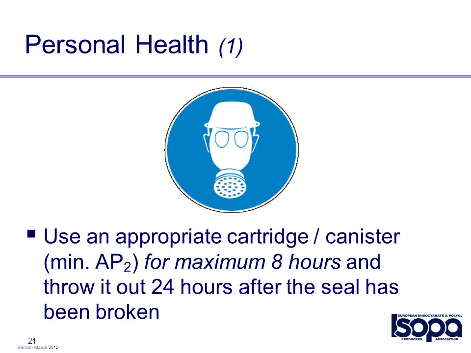 Personal Health (1) Use an appropriate cartridge / canister (min. AP2) for maximum 8 hours and throw it out 24 hours after the seal has been broken.