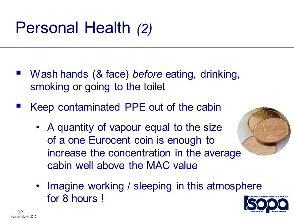 Personal Health (2) Wash hands (& face) before eating, drinking, smoking or going to the toilet. Keep contaminated PPE out of the cabin.