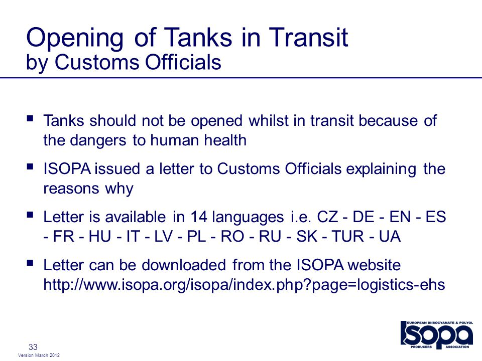 Opening of Tanks in Transit by Customs Officials