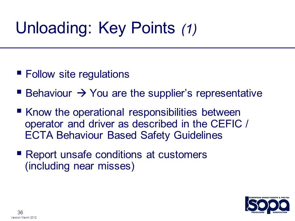 Unloading: Key Points (1)