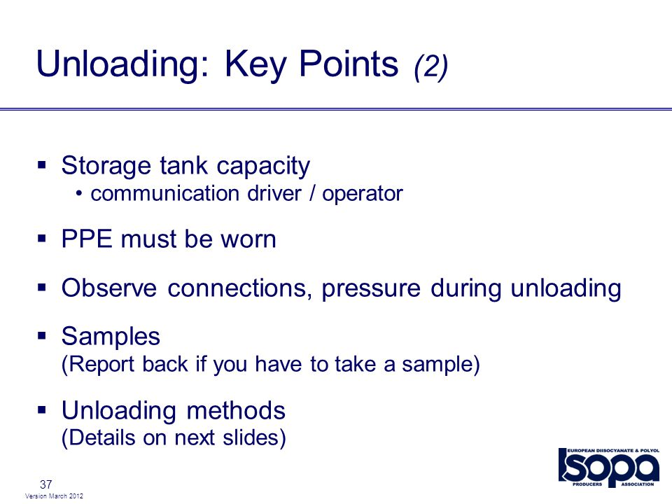 Unloading: Key Points (2)