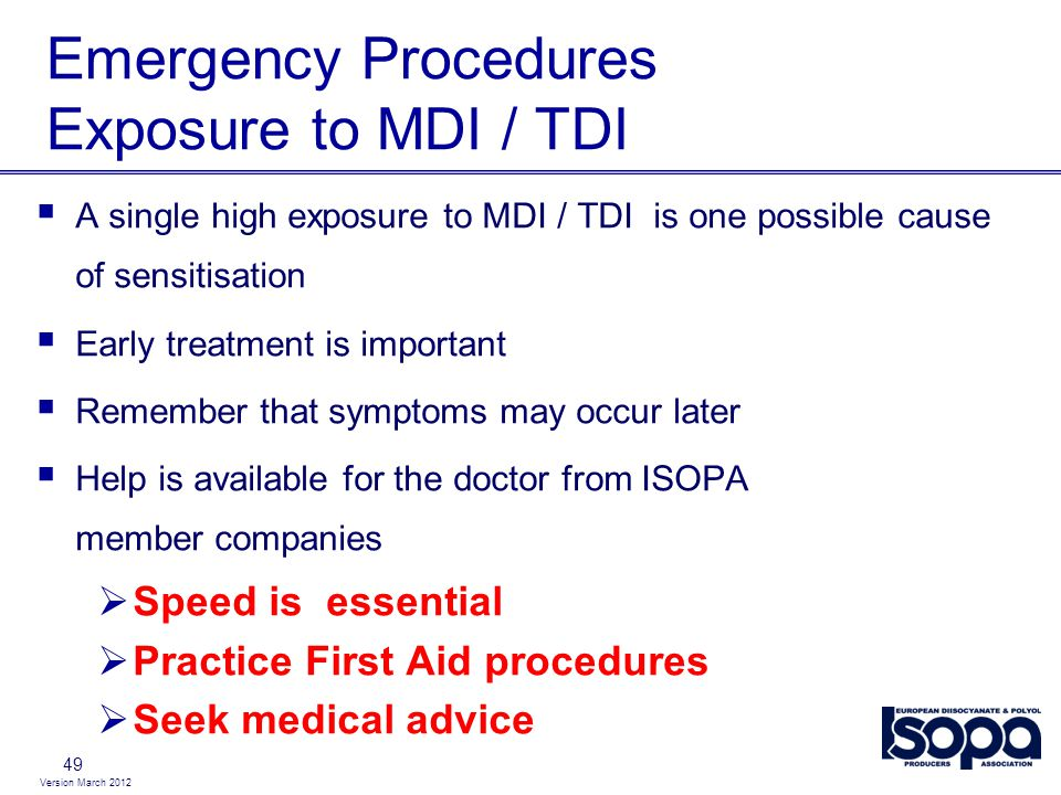 Emergency Procedures Exposure to MDI / TDI