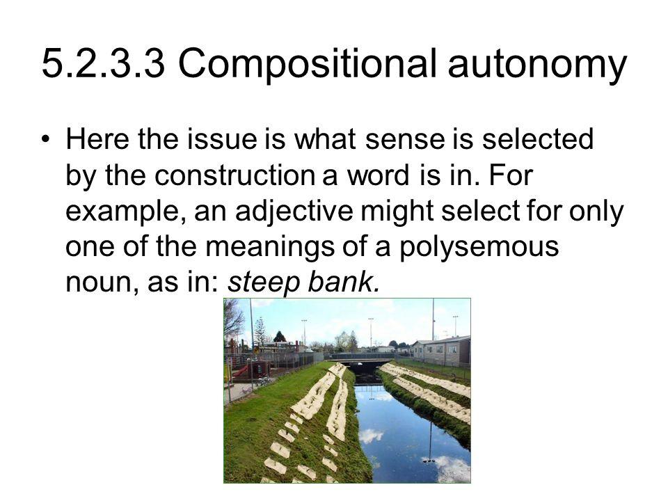 5.2.3.3 Compositional autonomy