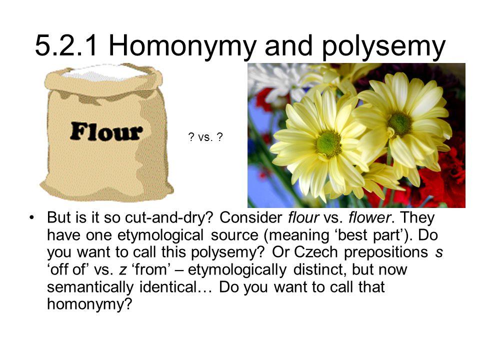 5.2.1 Homonymy and polysemy vs.