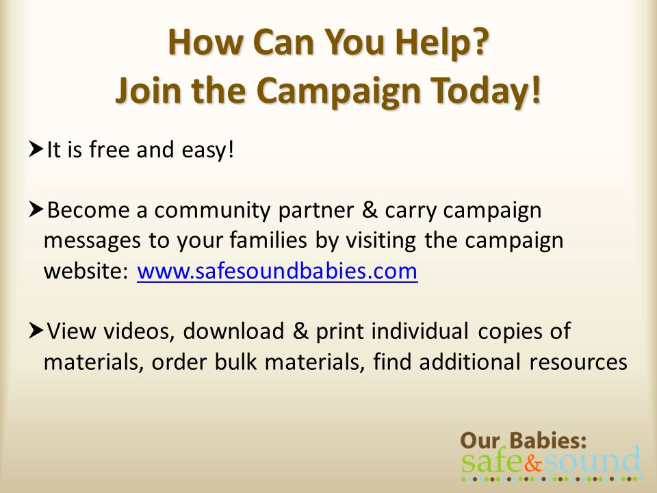 How Can You Help Join the Campaign Today!