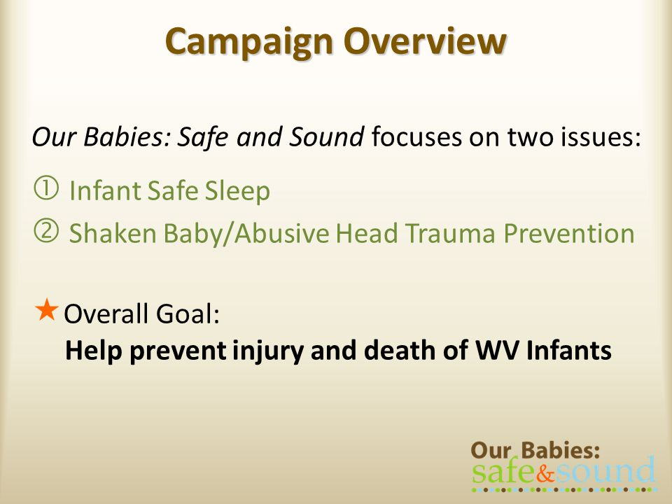 Campaign Overview Our Babies: Safe and Sound focuses on two issues:
