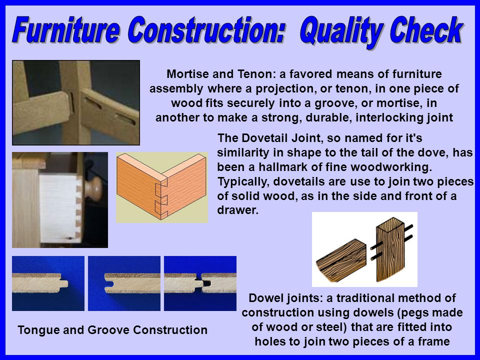 Furniture Construction: Quality Check