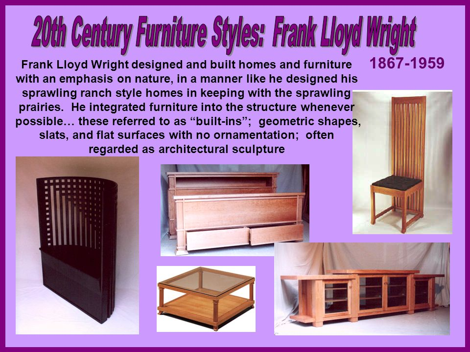 20th Century Furniture Styles: Frank Lloyd Wright