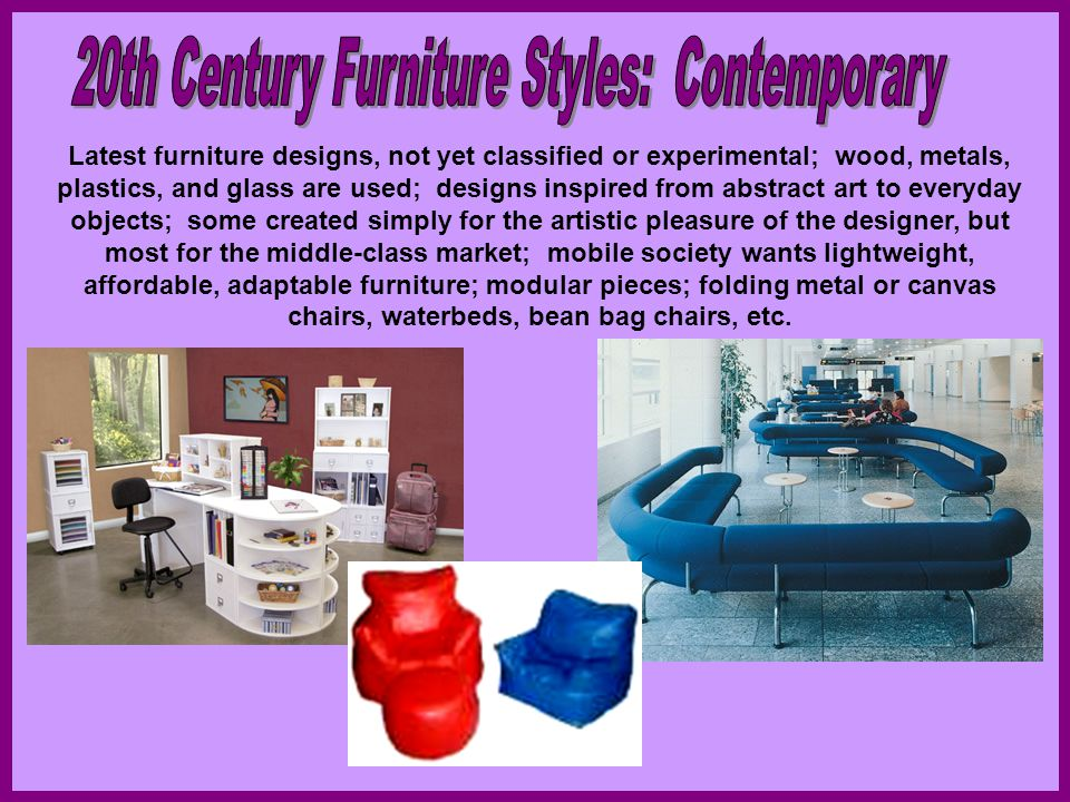 20th Century Furniture Styles: Contemporary