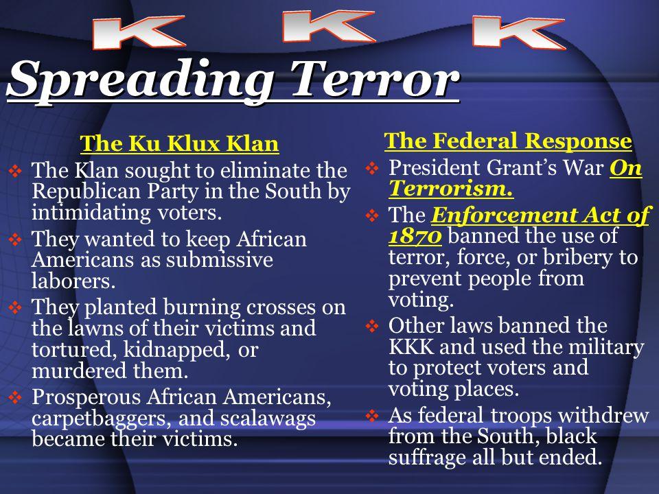Spreading Terror K K K The Federal Response The Ku Klux Klan