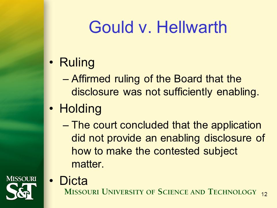 Gould v. Hellwarth Ruling Holding Dicta