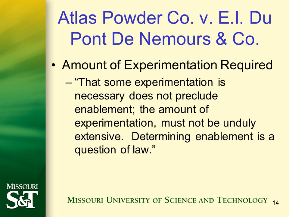 Atlas Powder Co. v. E.I. Du Pont De Nemours & Co.