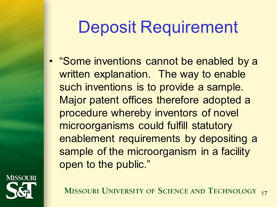 Deposit Requirement