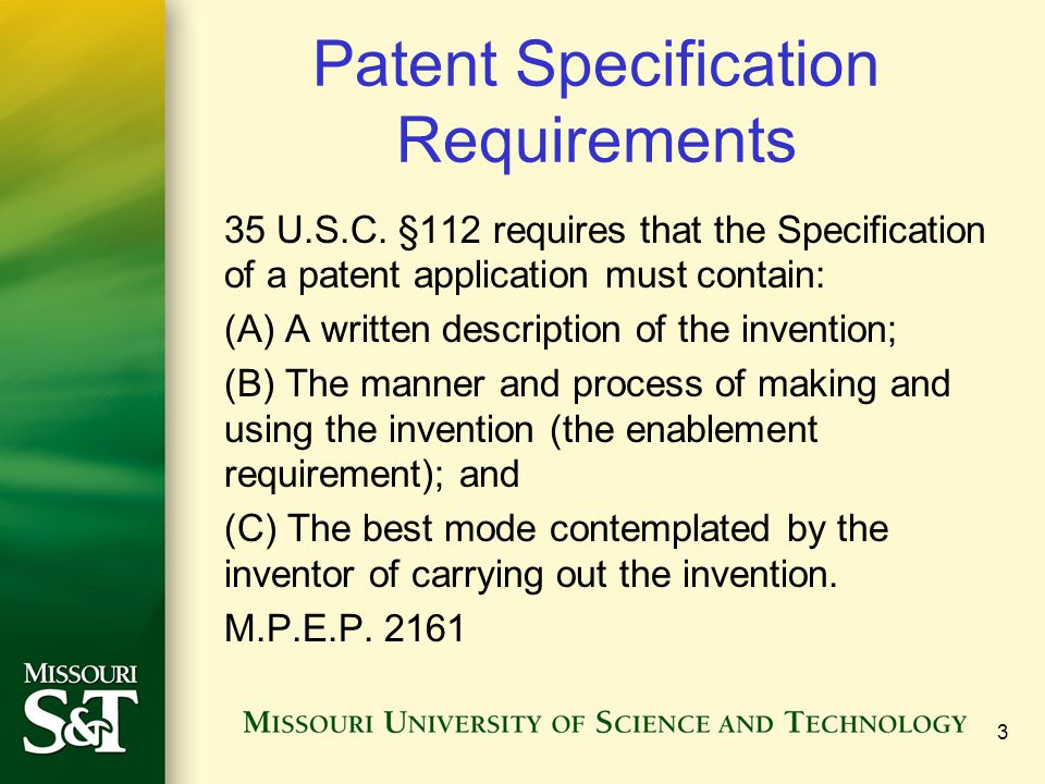 Patent Specification Requirements