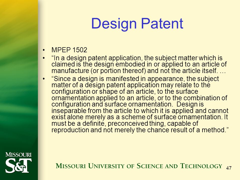 Design Patent MPEP 1502.