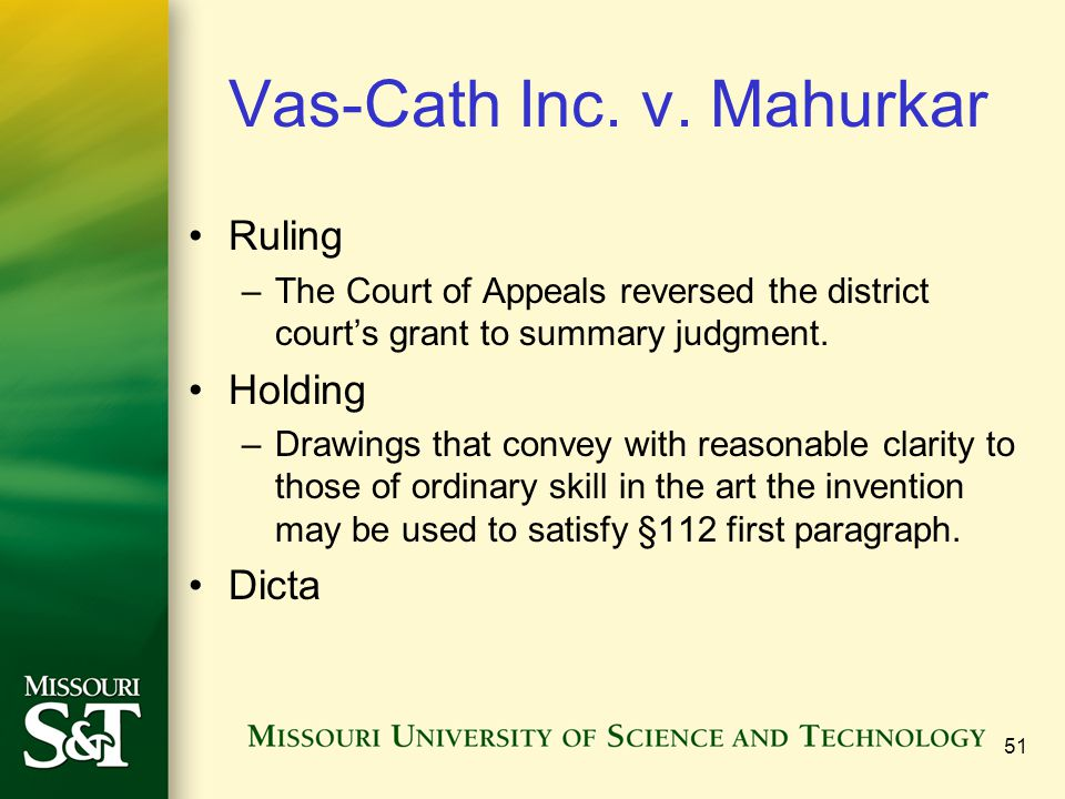 Vas-Cath Inc. v. Mahurkar