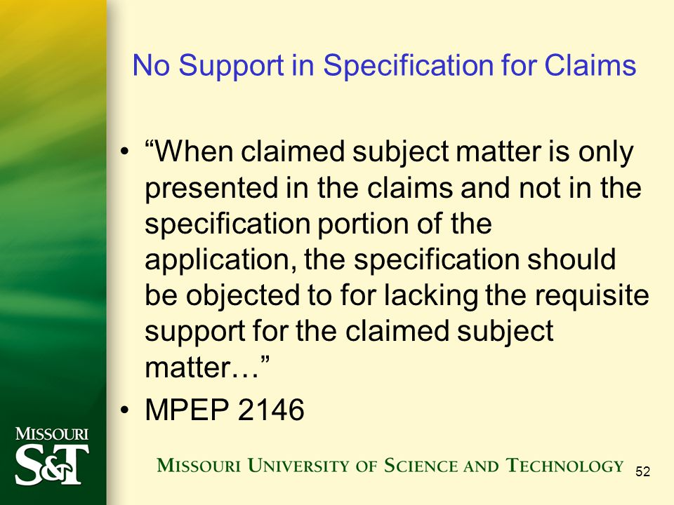 No Support in Specification for Claims