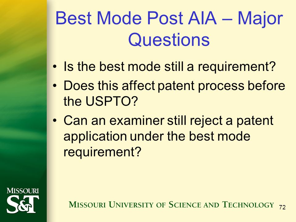 Best Mode Post AIA – Major Questions