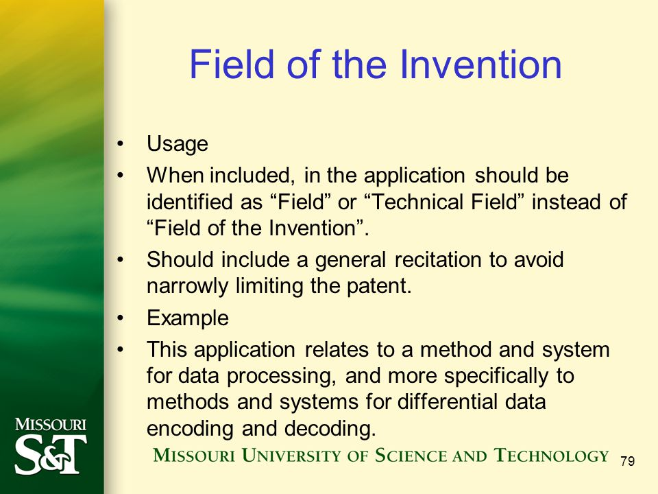 Field of the Invention Usage