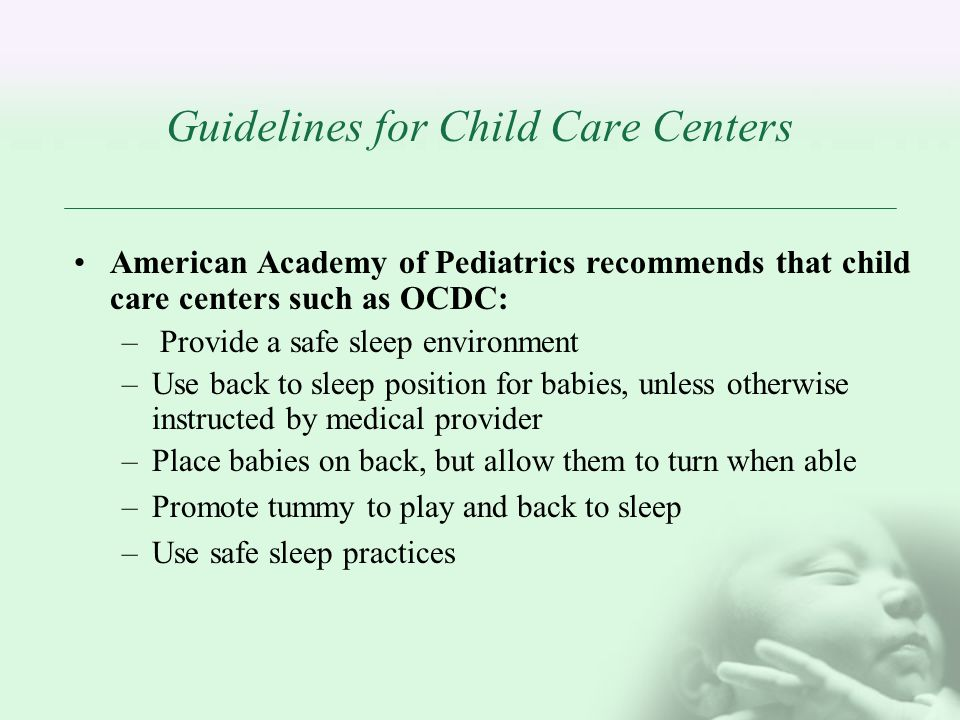 Guidelines for Child Care Centers