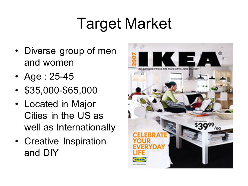 Target Market Diverse group of men and women Age : 25-45