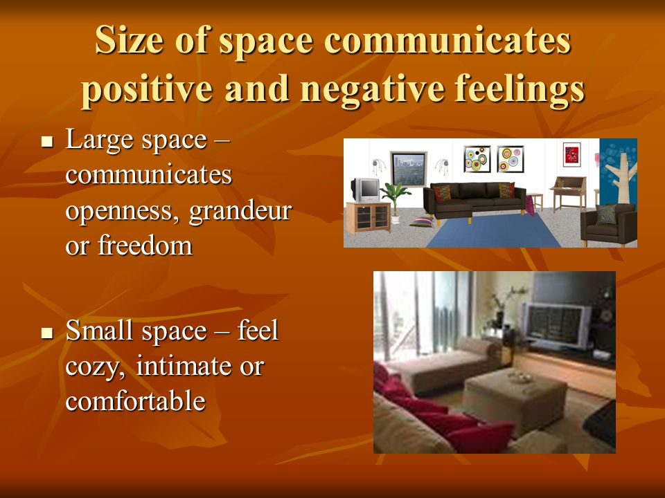 Size of space communicates positive and negative feelings