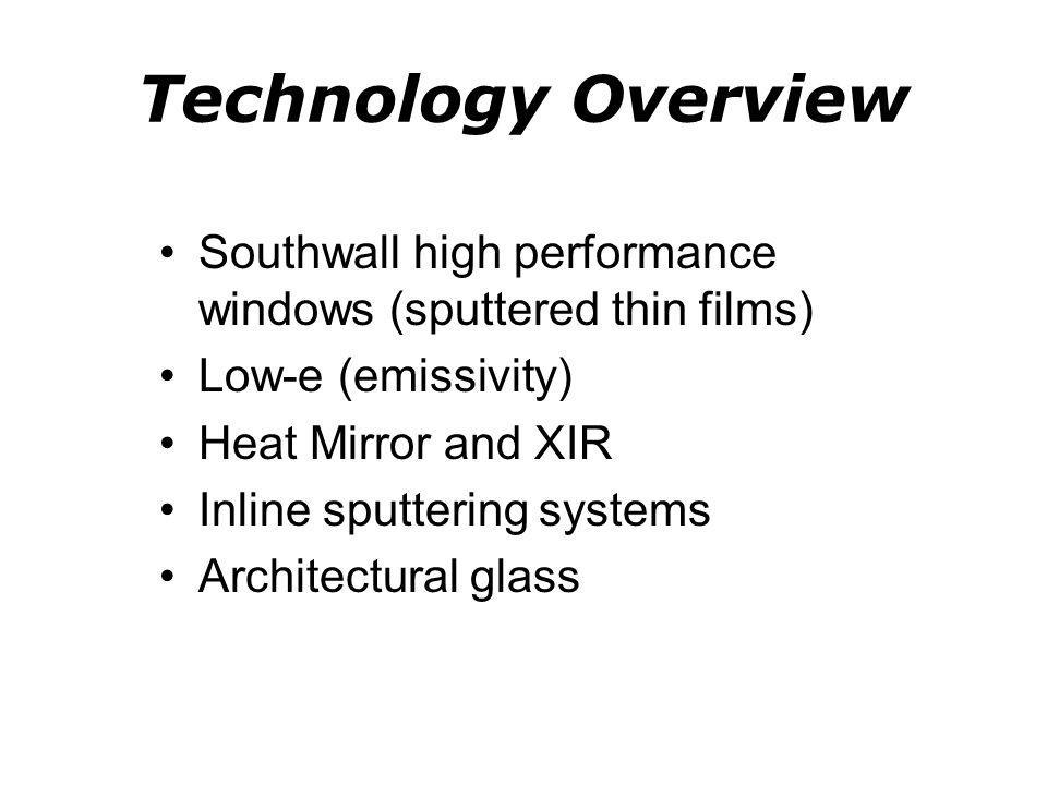 Technology Overview Southwall high performance windows (sputtered thin films) Low-e (emissivity) Heat Mirror and XIR.