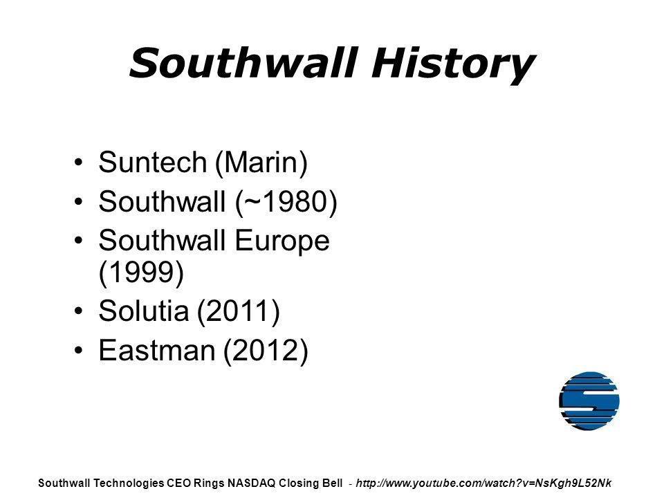 Southwall History Suntech (Marin) Southwall (~1980)