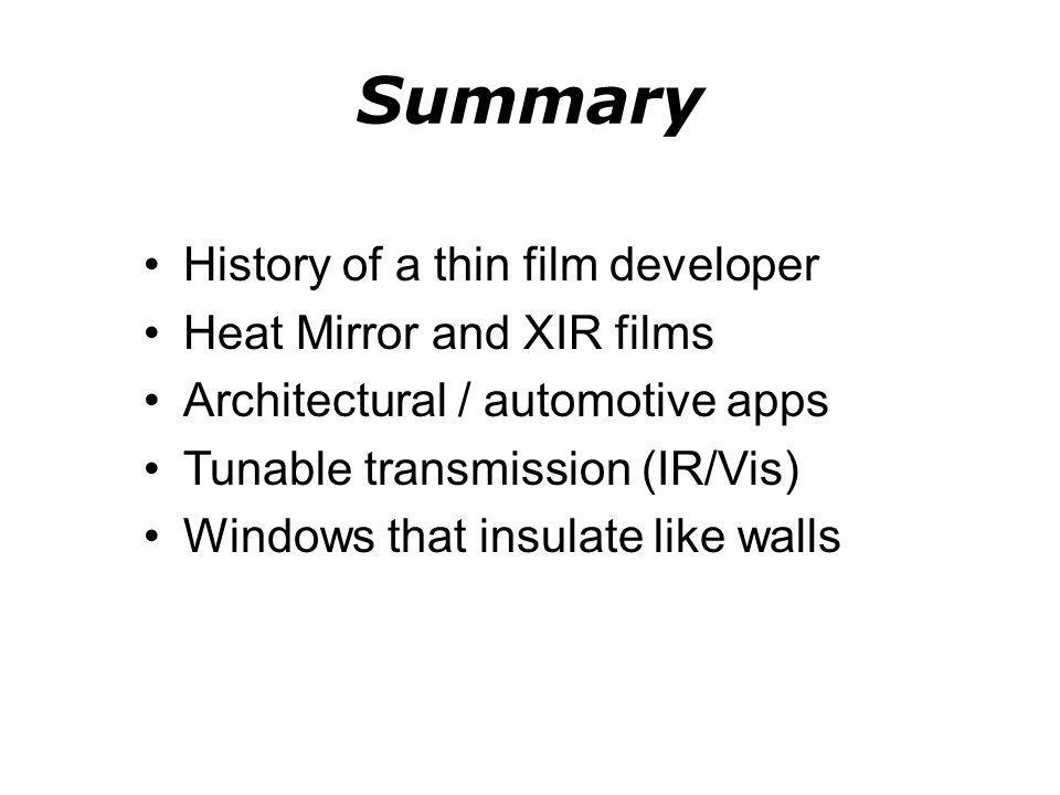 Summary History of a thin film developer Heat Mirror and XIR films