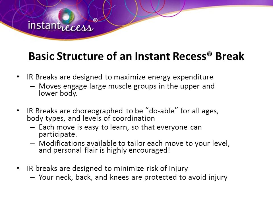 Basic Structure of an Instant Recess® Break