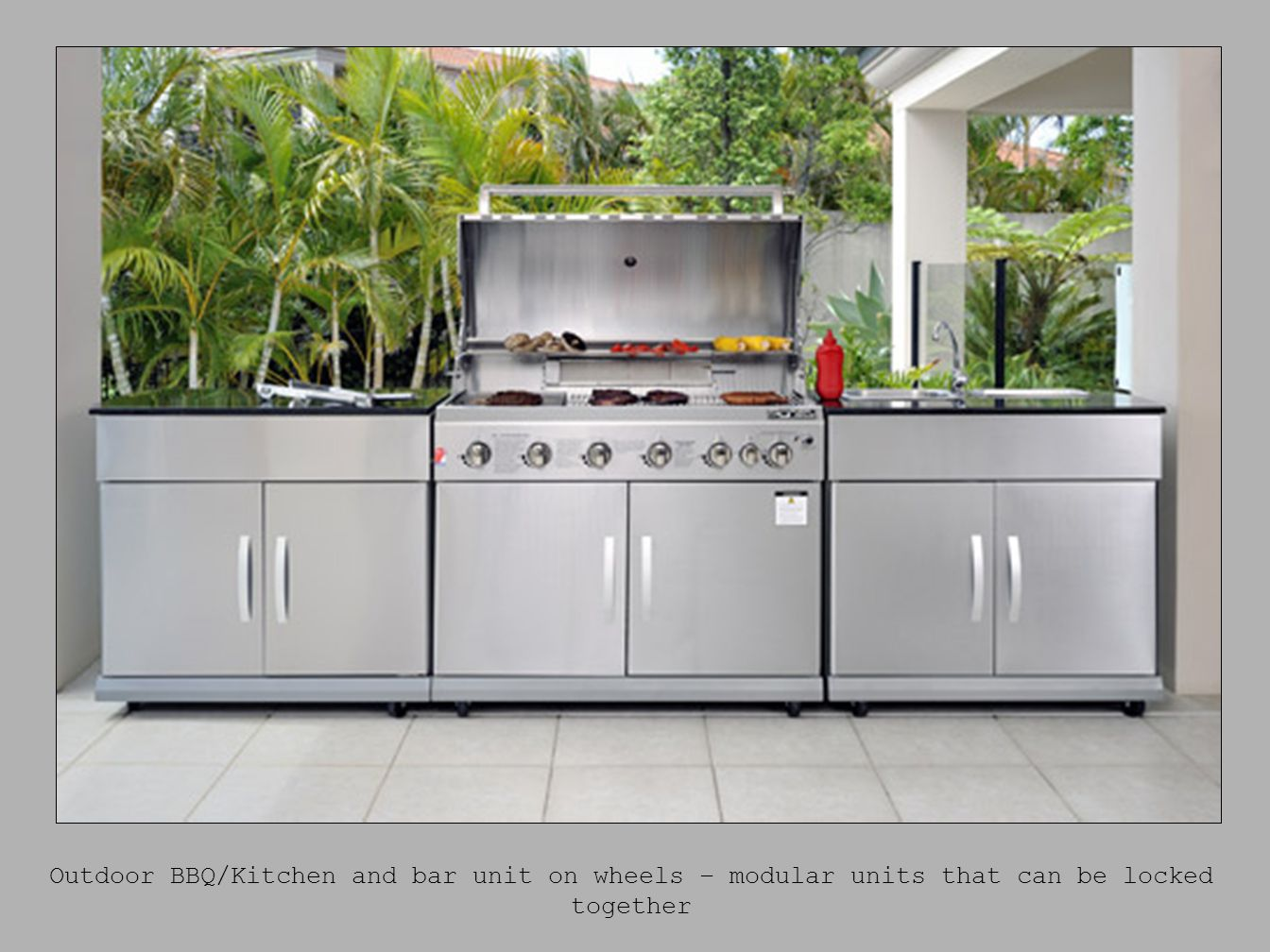 Outdoor BBQ/Kitchen and bar unit on wheels – modular units that can be locked