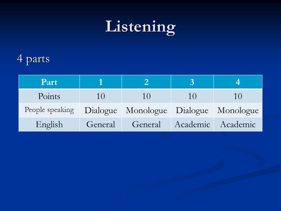 Listening 4 parts Part 1 2 3 4 Points 10 Dialogue Monologue English