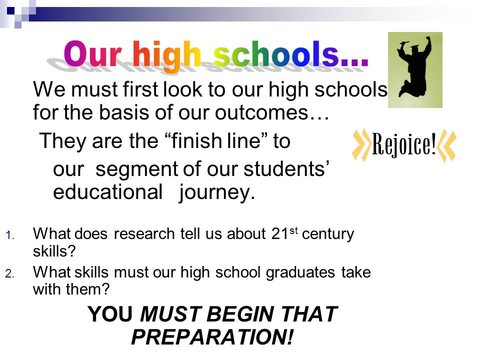 YOU MUST BEGIN THAT PREPARATION!