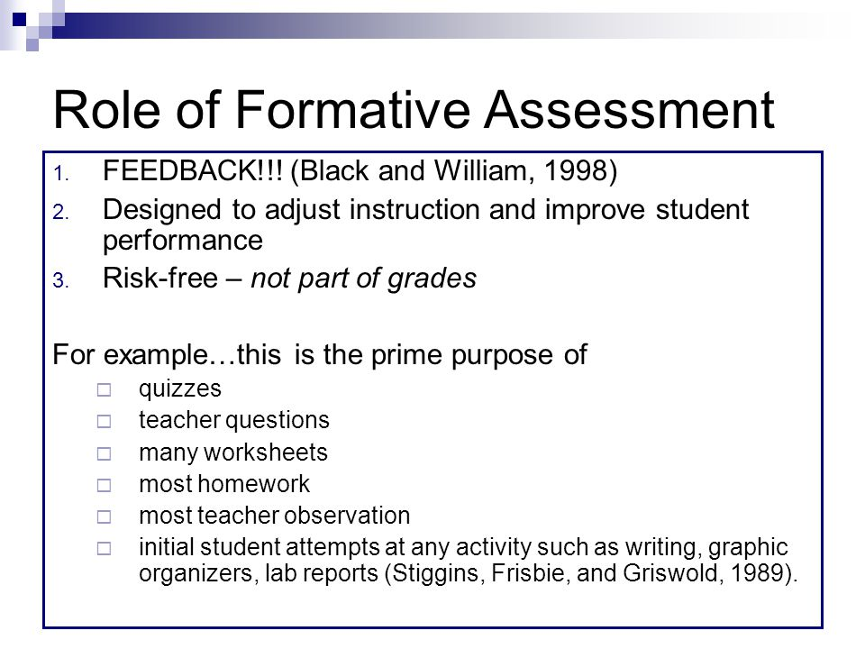 Role of Formative Assessment