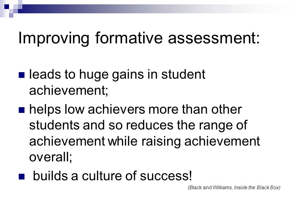 Improving formative assessment: