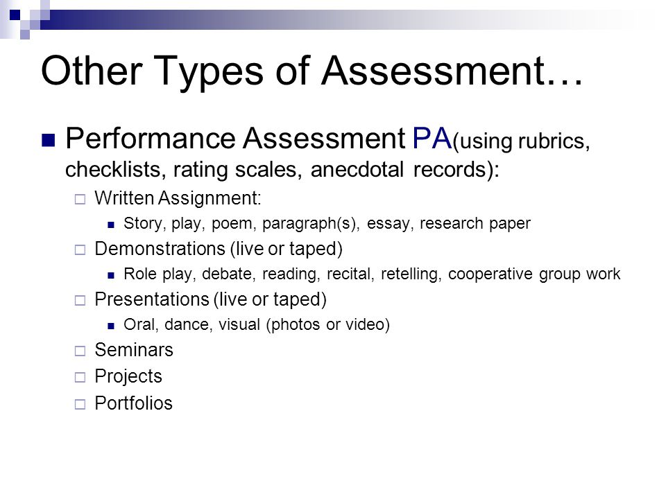 Other Types of Assessment…